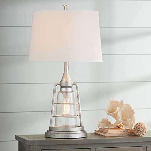 - Fisher Nautical Table Lamp with Nightlight LED Edison Bulb Galvanized Metal Cage Drum Shade for Living Room Bedroom - Franklin Iron Works