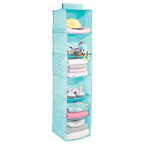 Room Decor Pattern - mDesign Soft Fabric Over Closet Rod Hanging Storage Organizer with 6 Shelves for Child/Kids Room or Nursery - Polka Dot Pattern - Turquoise Blue with White Dots
