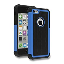 iPhone 5C Case,Lantier Hybrid Dual Layer Shockproof Armor Defender Protective Case Cover (Hard Plastic with Soft Silicon Inner) for Apple iPhone 5C Blue