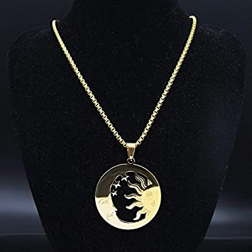 C SR 50 BOX Moonnight Store Stainless Steel Chain Necklaces for Men Gold Color Necklaces Pendants Jewelry cadenas para hombre N18899