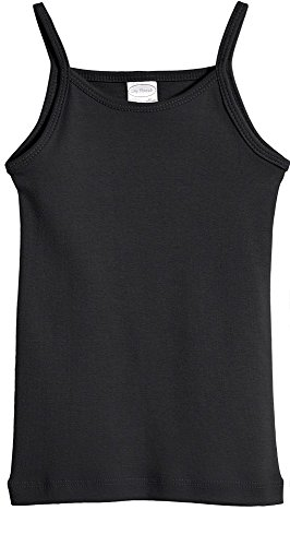 (City Threads Big Girls' Cotton Camisole Cami Tank Top T-shirt Tee Tshirt spaghetti Straps Summer Play School Sports Sensitive Skin SPD Sensory Sensitive Clothing - Black -)