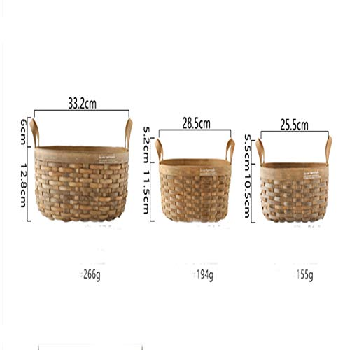 Tongboshi Bread Basket, Hand-Woven Storage Basket (with Handle), Picnic Fruit Bread Basket, Storage Basket, Oval Fruit Basket Three-Piece, Latest Models (Color : 3-Piece Set) by Tongboshi (Image #2)
