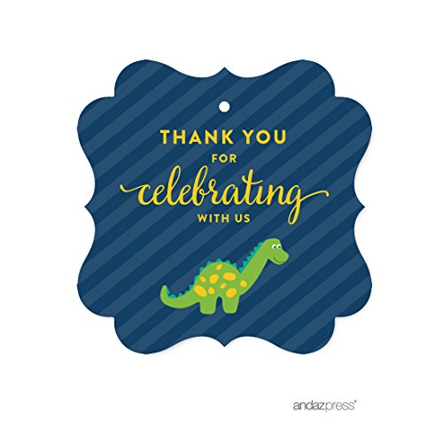 - Andaz Press Birthday Fancy Frame Gift Tags, Thank You for Celebrating With Us, Dinosaur, 24-Pack, For Gifts and Party Favors