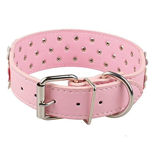 Dogs Kingdom Pink Three Rows Flower Pattern Pu Leather Dog Cat Collars Pet Necklace