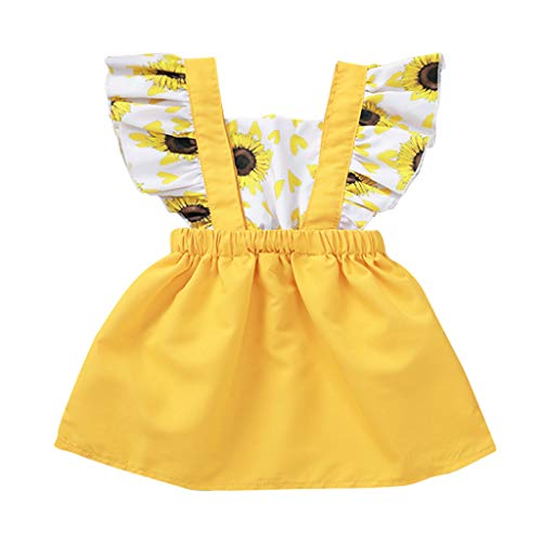 LiLiMeng 2019 New Newborn Infant Baby Girls Ruffled Sleeve Sunflower Print Dress Elastic Waist Sundress Summer Yellow