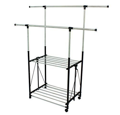 Generic g Rack Rack Clothes ck Cloth Bar Garment othes Dryi Stainless Steel uble Drying Rack sible D Collapsible Double by Generic