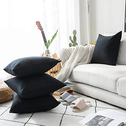 HOME BRILLIANT Throw Pillow Covers 18 x 18 inch Set of 4, Lined Linen Square Pillowcases for Couch, Black (Black Linen Pillow Cover)