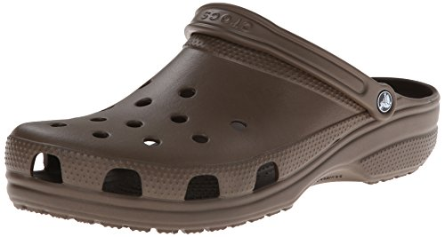 (Crocs Men's and Women's Classic Clog, Comfort Slip On Casual Water Shoe, Lightweight, Chocolate, 13 US Women / 11 US Men)