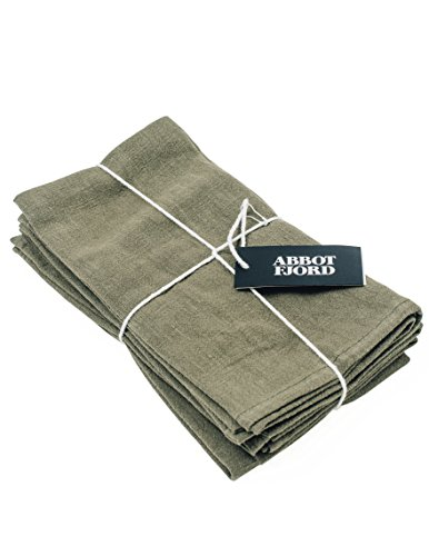 Rose Leaf Dish (Linen Dinner Napkins by Abbot Fjord - Soft and Durable Cloth - 4 pack - 20x20 inch (Olive))