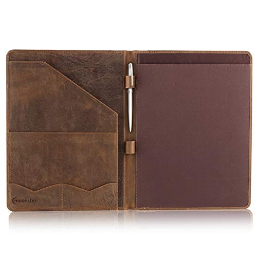 Leather Portfolio Professional Organizer Padfolio - Resume Folder with Luxury Pen, Stylish Document Folio for Letter Size Writing Pad with Business Card Holder, Ideal Gift Portfolios for Men + Women