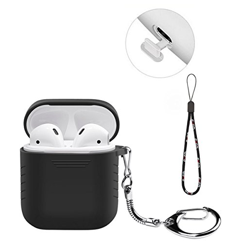 BUBM Case for AirPods Case Cover Skin Keychain Protective Apple AirPods Silicone Case Shockproof with Anti-Lost Strap for iPhone 7 for iPhone 8 for iPhone X Airpods Accessories Charging Case (Black)