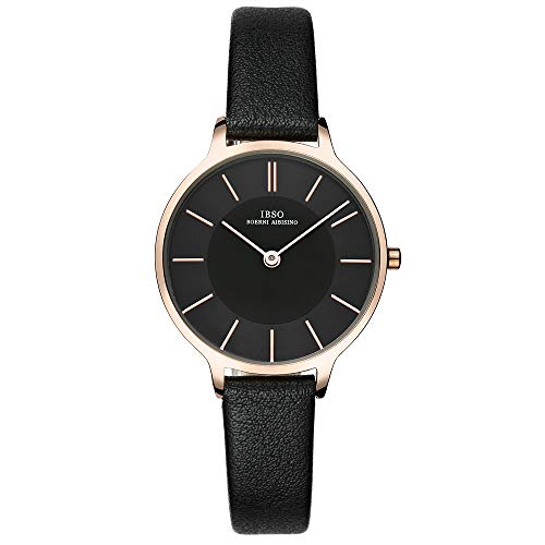 IBSO Women Fashion Simple Watch Ultra-Thin Retro Quartz Analog Leather Strap Ladies Wristwatch (Black) ()