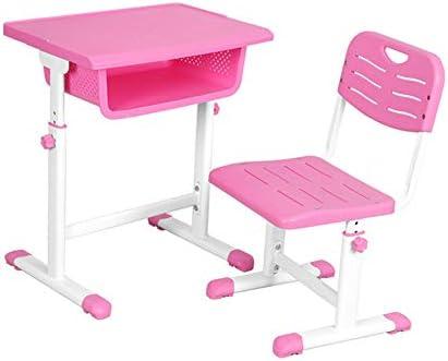 子供用の机、調節可能な学校の机と椅子、小中学生の家庭用ライティングデスクと椅子のセットに最適,ピンク