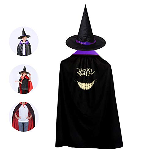 Kids We're All mad here Halloween Costume Cloak for Children Girls Boys Cloak and Witch Wizard Hat for Boys Girls Purple -