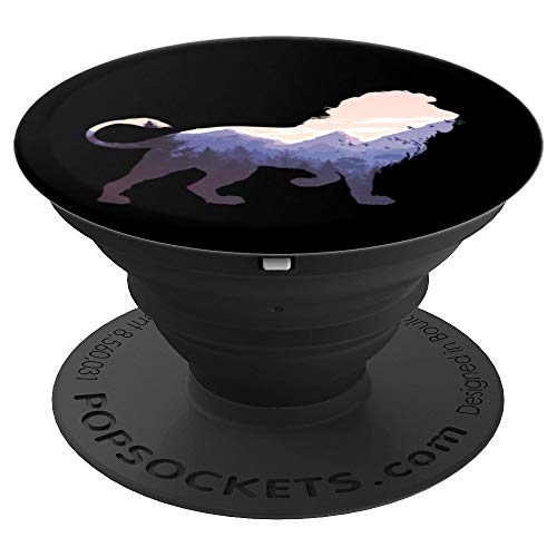 Lion Mountain Silhouette Design Wildlife Animal Lover Gifts - PopSockets Grip and Stand for Phones and Tablets