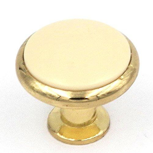 Hickory Hardware Tranquility Polished Brass & Ivory Porcelain Round 1 3/8