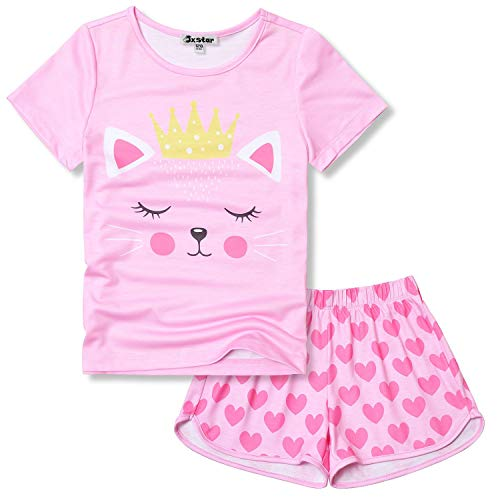 Girls Cat Pj Sets Pink Pajamas Short Sleeve Cotton Summer Sleepwear Size 6 7