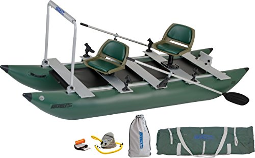 Sea Eagle Green 375fc Inflatable FoldCat Fishing Boat - Pro Angler Guide Package