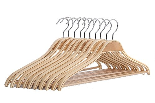 JS HANGER Solid Natural Wooden Coat Shirt Hangers with Non-slip Pant Bar, 10-Pack