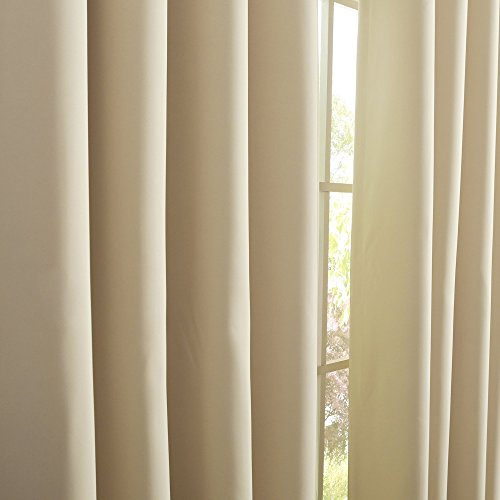 """Best Home Fashion Thermal Insulated Blackout Curtains - Antique Bronze Grommet Top - Beige - 52""""W x 63""""L - (Set of 2 Panels)"""