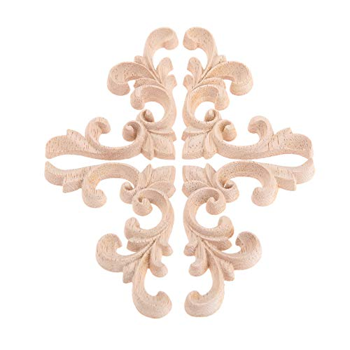 2 Pairs Left&Right Wood Hand Carved Corner Flower Pattern Applique Unpainted Modern Furniture Doors Walls Carved Ornamental Decor -