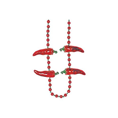 Amscan 399500 Chili Pepper Bead Necklace, 42