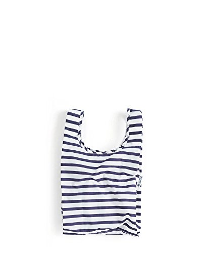 BAGGU Small Reusable Shopping Bag, Ripstop Nylon Grocery Tote or Lunch Bag, Sailor Stripe