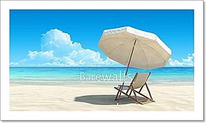 Amazon.com: Barewalls Beach Chair and Umbrella on Idyllic ...
