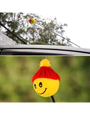 TranShop(TM) Yellow Happy Smiley Face with Wool Hat Car Antenna Pen Topper Aerial Ball