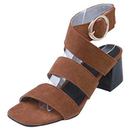 Brown Ouvert Vulusvalas Bout Sandales Femmes Mode JcFlTK1