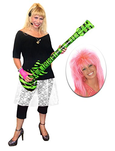 Rocker Chick White Lace Plus Size Supersize Halloween Costume Deluxe Pink Wig Kit 9x]()