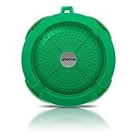 Photive Rain WaterProof Portable Bluetooth Shower speaker. Rugged Wireless Outdoor/Shower Speaker with Built in Microphone - Green