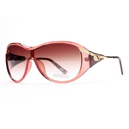 Red Accent Temple (Anais Gvani Glam Shield Fashion Sunglasses w/ Gold Temple Accent -Red)