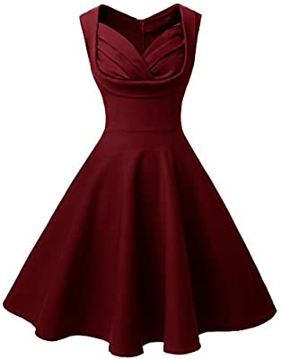 Angerella Retro 50s Party Cocktail Dresses V-Neck Sleeveless Swing Dress