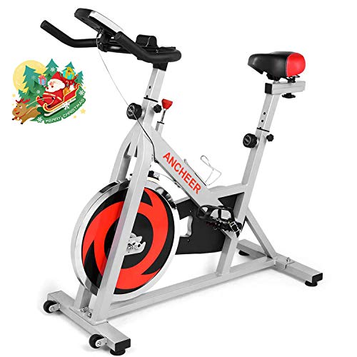 ANCHEER Indoor Cycling Bike Stationary, Belt Drive Exercise Bike with Comfortable Seat Cushion, Workout Bikes with Magnetic Resistance and LCD Monitor for Home Exercise (Silver)