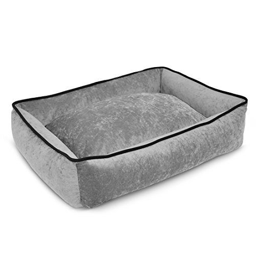 PUP IQ Smart Pup Gray Lounger Dog Bed, Medium Size, Slate Colored, Crypton Stay Clean Suede Fabric, Waterproof, Made in the USA, Machine Washable With a Removable Cover by PUP IQ