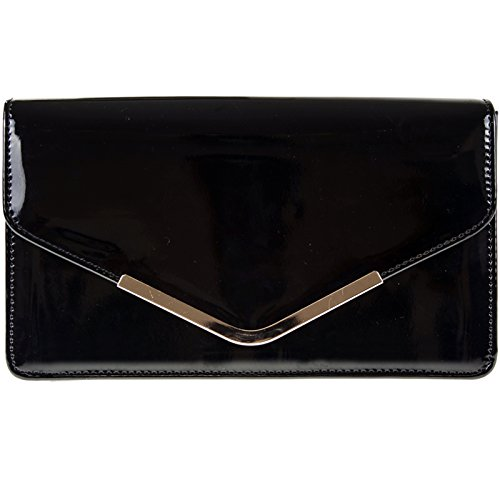 Party Bridal Wedding Patent Hand Bag Evening Leather Clutch Handbag fi9® Purse Black Shoulder CqTEwYxtx