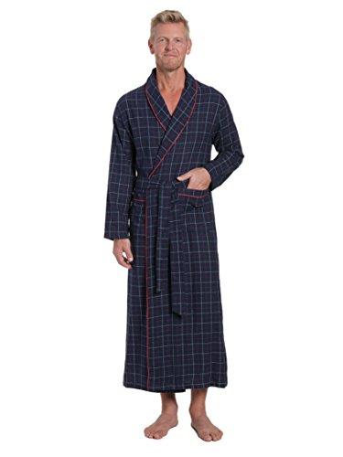 Multi Plaid Flannel - Noble Mount Men's 100% Cotton Flannel Long Robe - Plaid Navy-Multi - S-M