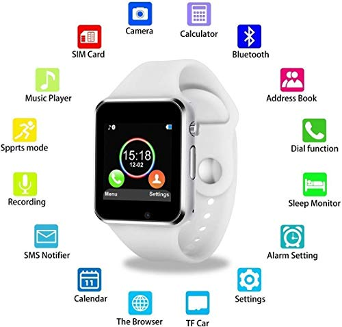 41uFv8hbMAL Wowlook Bluetooth Smart Watch Compatible with All Phone with Camera and Sim Card Support for Men boy Kids Girls and Women (White)