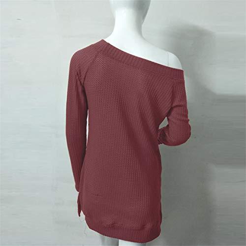 t Shirt Bellelove Automne Femmes Chemise Manches Chandail Blouse Mode Longues Manches Hiver Rouge col Tricoter Tops Longues Solide Chandail tricot Dames Slash BTnBrxU