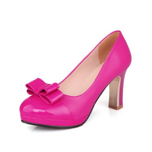Amoonyfashion Dames Ronde-toe Dichte Teen Hoge Hakken Pumps-schoenen Met Plateau En Strik Rosered