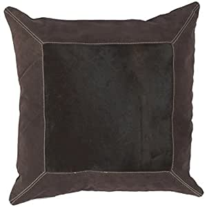 "18"" Framed Square Chocolate Brown and Ecru Beige Decorative Throw Pillow"