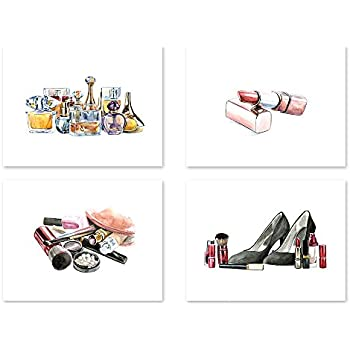 AtoZStudio A19 Makeup Wall Art Decor , Set of 4. Fashion Poster , Makeup  Room Bedroom Prints For Women , Brush Lipstick Shoes Perfume (8x10)