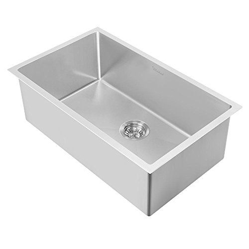 Whitehaus WHNPL2718-BSS Noah Plus Collection Kitchen Sink, Brushed Stainless Steel ()