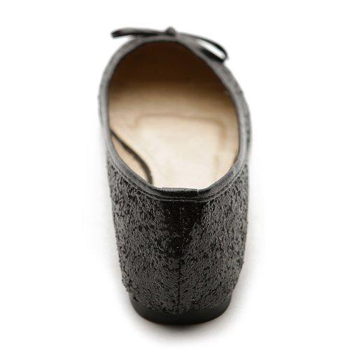 Ollio Dames Ballet Schoen Pailletten Lint Plat Zwart