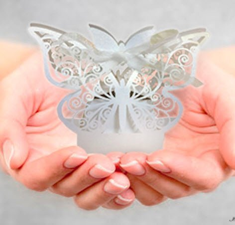 Premium Quality White Butterfly Premise Candy Box, 10 pieces, SMALL (2.1x1.7x1.6