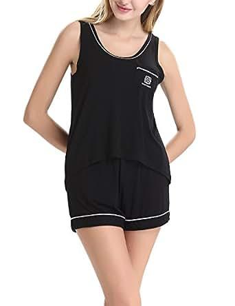 Women's U-neck Sleepwear Pajama Set With Short Pants by NORA TWIPS(Black,XS)