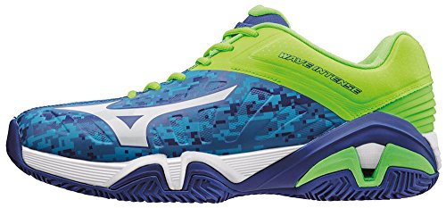 Mizuno Men Wave Intense Tour Cc Tennis Shoes, Blue Blue (Bluecamouflage/White/Greengecko)