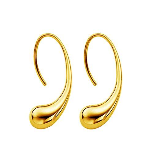 - Sterling Silver Earrings, Muranba Fashion Classic Sterling Silver Thread Drop Earrings Teardrop Back Earrings (White/1 Pair) (Gold)
