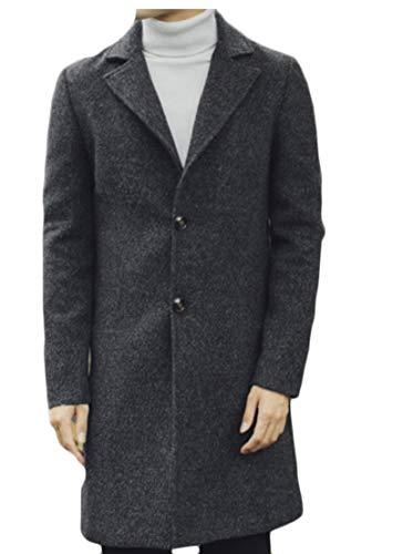 TTYLLMAO Trench Dark Men's Grey Business Jacket Coat Down Coat Woolen Winter rHwTr1